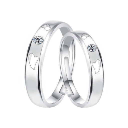 Silverplated Elegant Solitaire Heart Grooved  His And Her Adjustable Proposal Couple Ring For Men And Women Jewellery