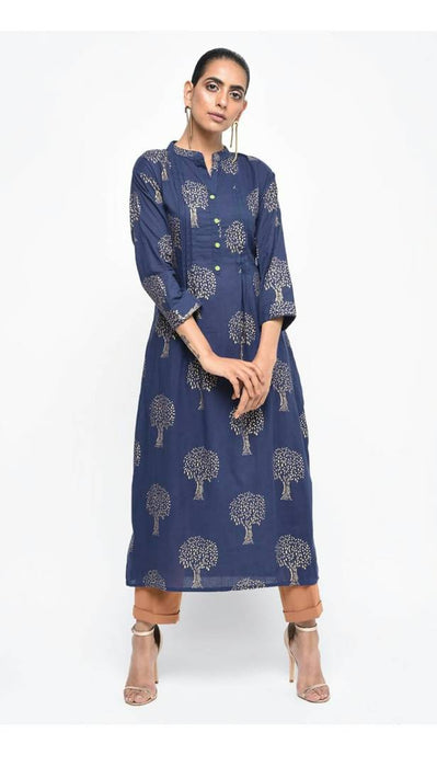Blue  Cotton Straight Kurta For Women's