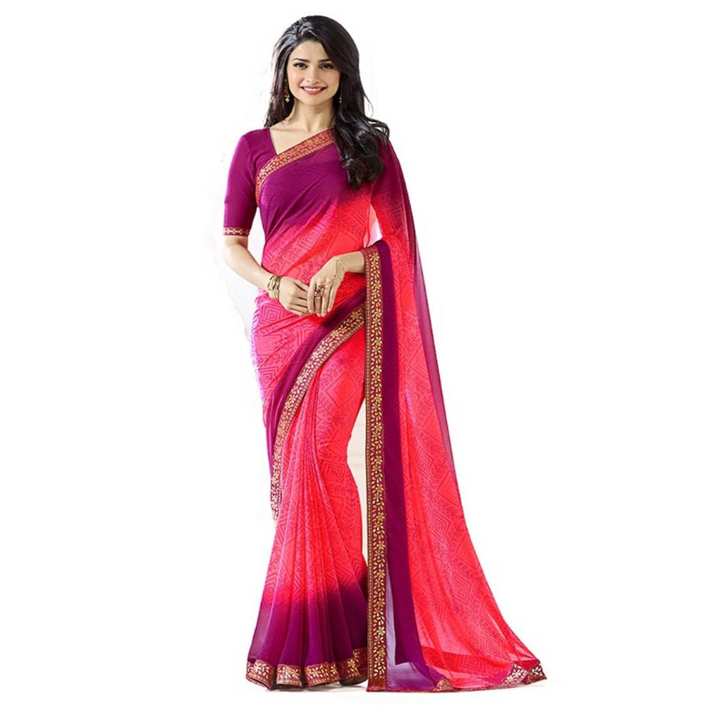 Women's Beautiful Heavy Georgette Saree With Blouse Piece