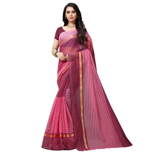 Women's Multicoloured Chanderi Cotton Striped Bollywood Saree with Blouse piece