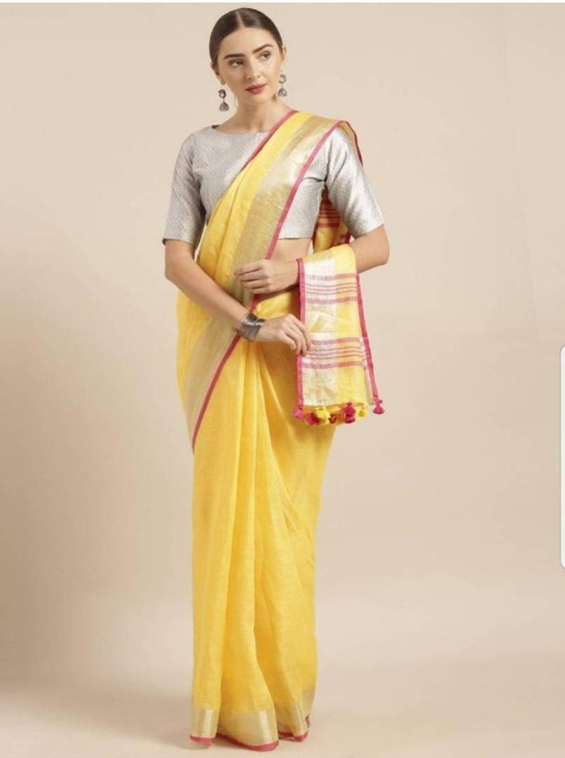 Bhagalpuri Cotton Slub Dyed Saree with Zari Border and Zari Woven Pallu