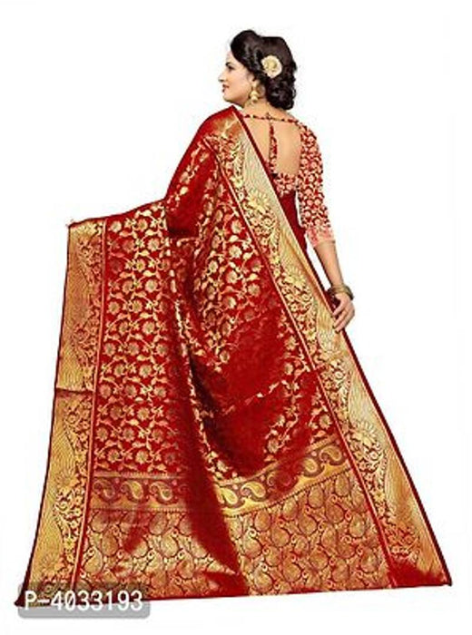 Stylish Red Pure Silk Saree With Blouse Piece