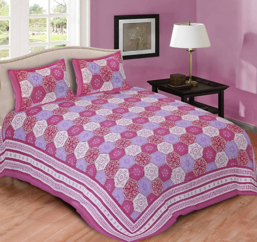cotton king size bedsheet with two pillow cover