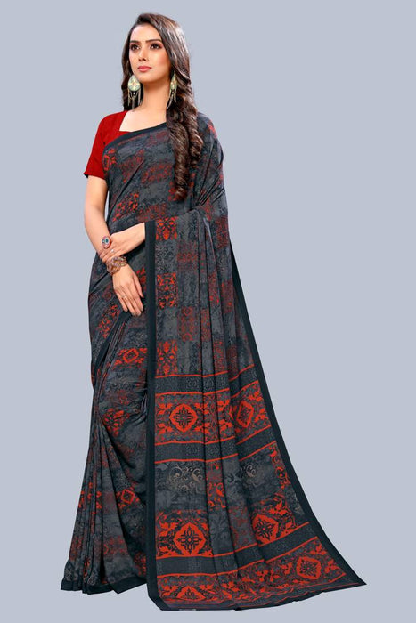 Women's Printed Crepe Saree with Blouse Piece