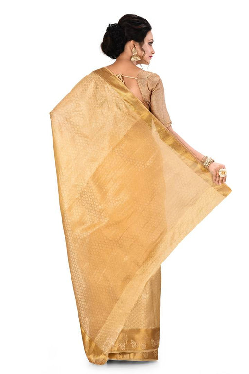 Trendy Beige Kanjivaram Art Silk Saree With Matching Blouse Piece