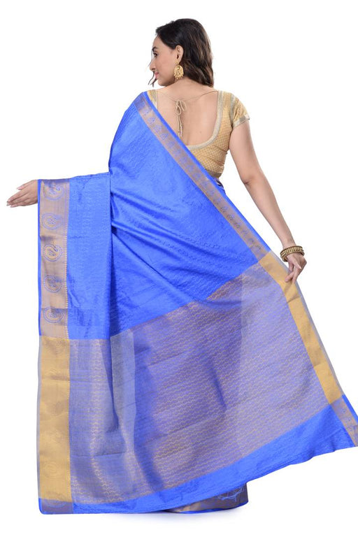 Trendy Royal Blue Kanjivaram Art Silk Saree With Matching Blouse Piece