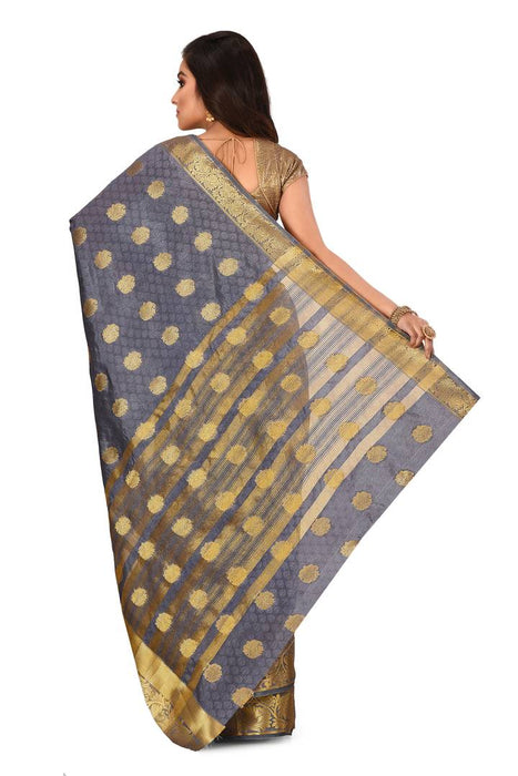 Trendy Grey Kanjivaram Art Silk Saree With Matching Blouse Piece