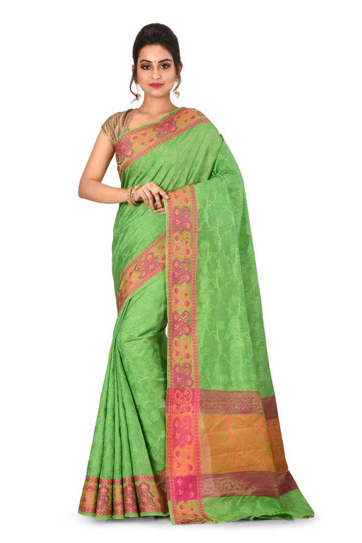 Trendy Green Kanjivaram Art Silk Saree With Matching Blouse Piece