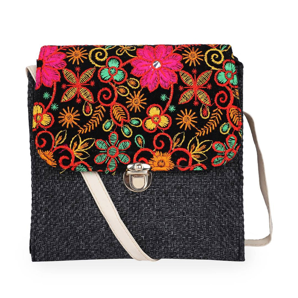 Women's Beautiful Black Embroidered Artificial Leather Sling Bag