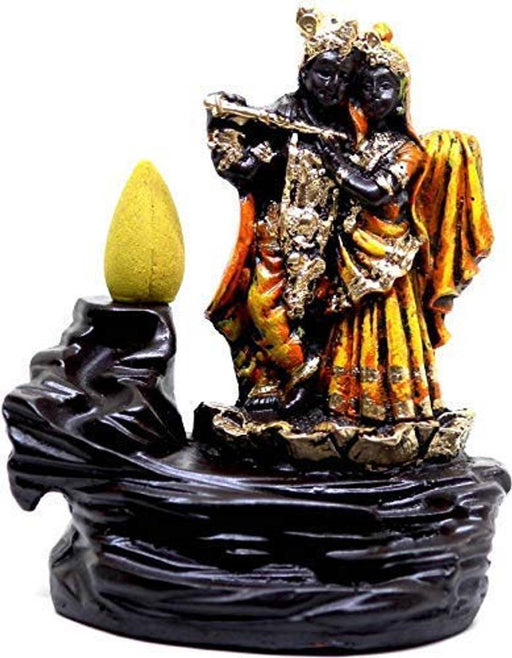 Radha Krishna Incense Holder Smoke Backflow Cone, Decorative Showpiece with 10 Colorful Dhoop Cones (Radha-Krishana, Gold)