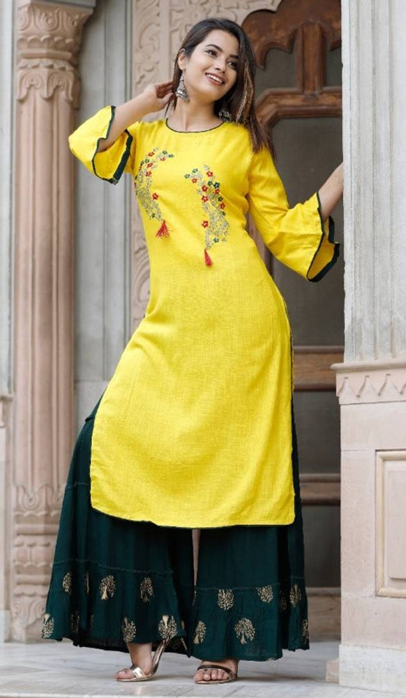 Women Rayon kurti with printed sharara