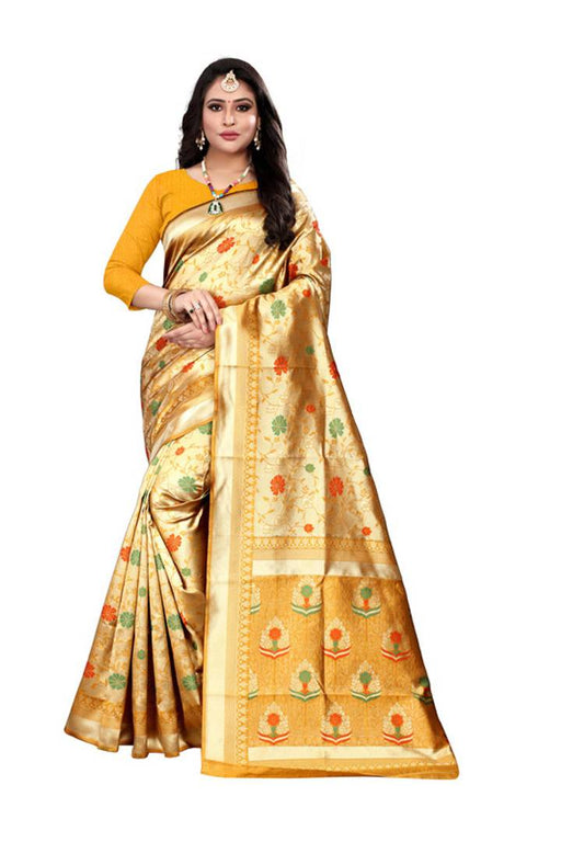 Stylish Banarasi Kota Silk Weaving Saree With Blouse Piece
