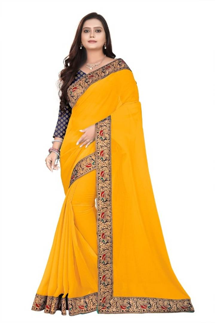 Attractive Chiffon Saree with Blouse piece