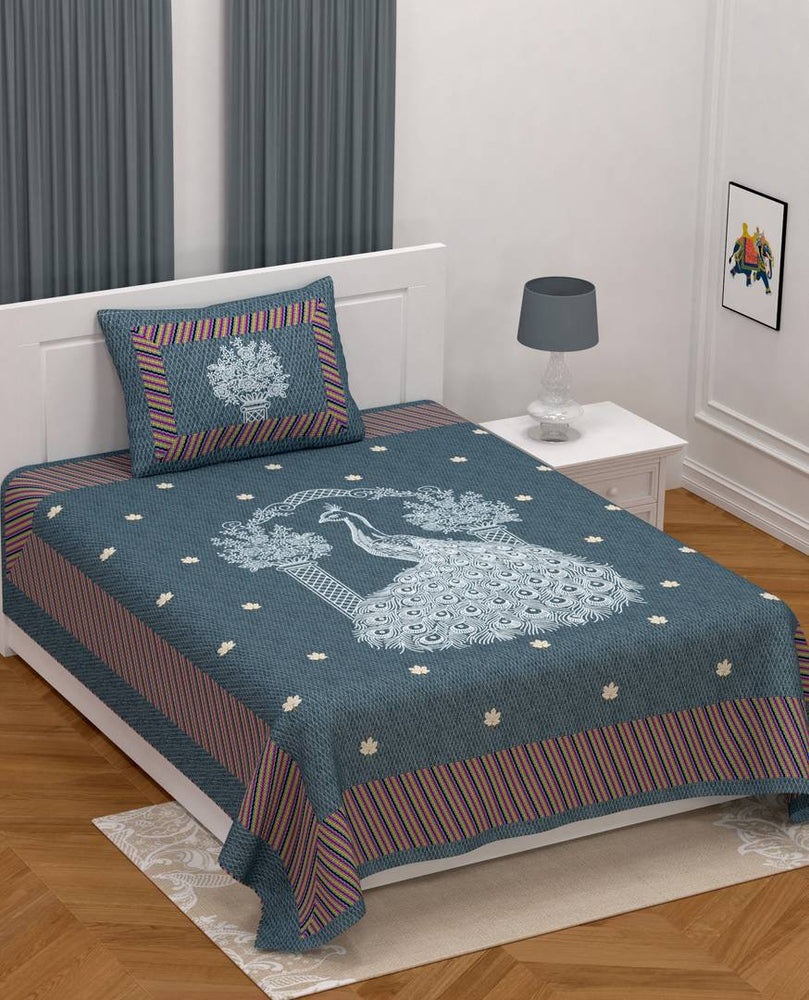 Modern Grey Cotton Printed Single Bedsheet With Pillow Cover