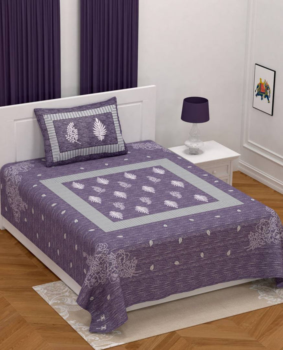 Modern Purple Cotton Printed Single Bedsheet With Pillow Cover