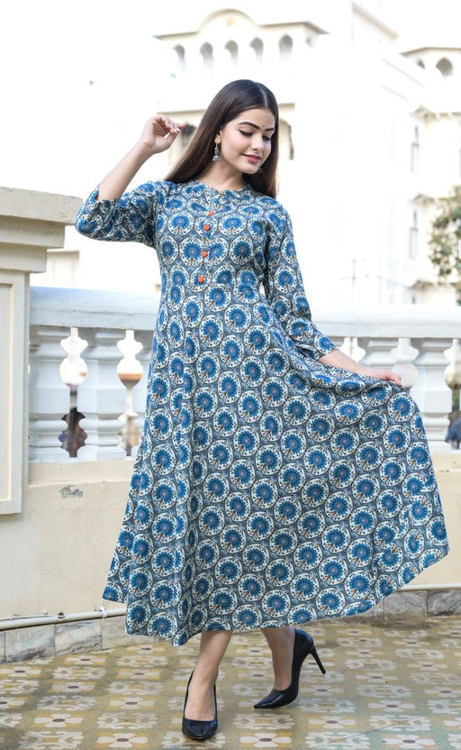 Women's Printed Blue Rayon Kurta