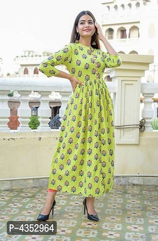 Women's Printed Green Rayon Kurta