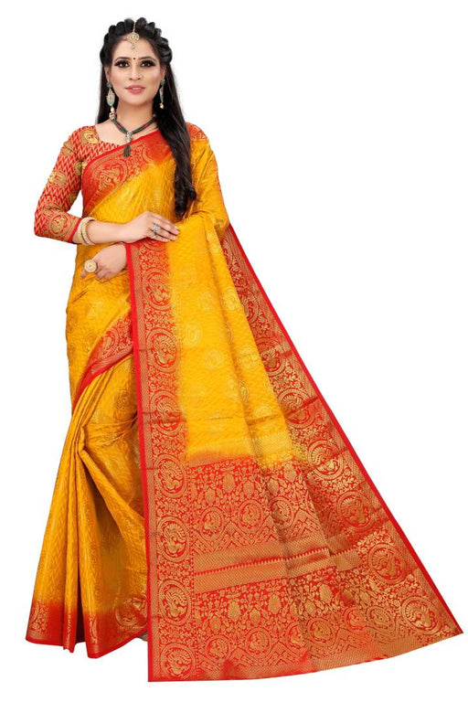 Premium Self Design Kanjivaram Saree With Blouse Piece
