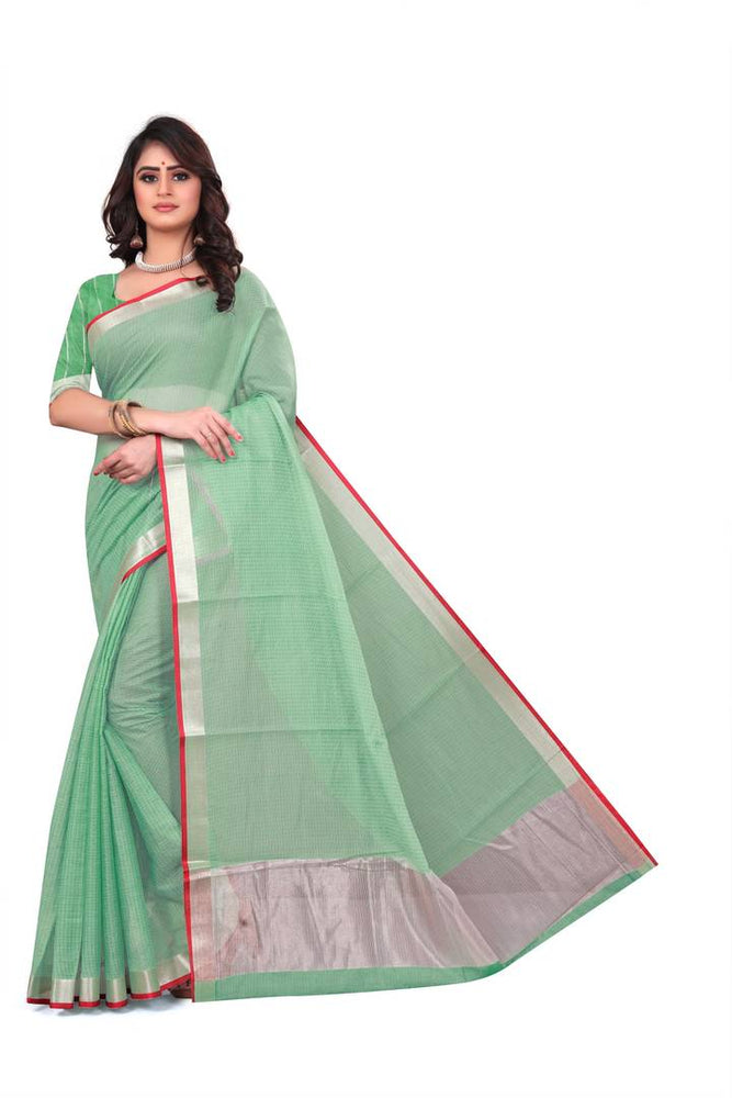 Fashionable Green Kota Cotton Woven Design Saree With Blouse Piece