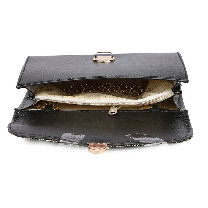 Stylish Black PU Solid Women Sling Bags