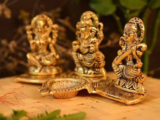 Decorative Laxmi Ganesha Sitting Diya Statue - Puja Diya- Lakshmi Ganesh Saraswati Showpiece Oil Lamp Diya Aluminium Table Diya  (Height: 4 inch)