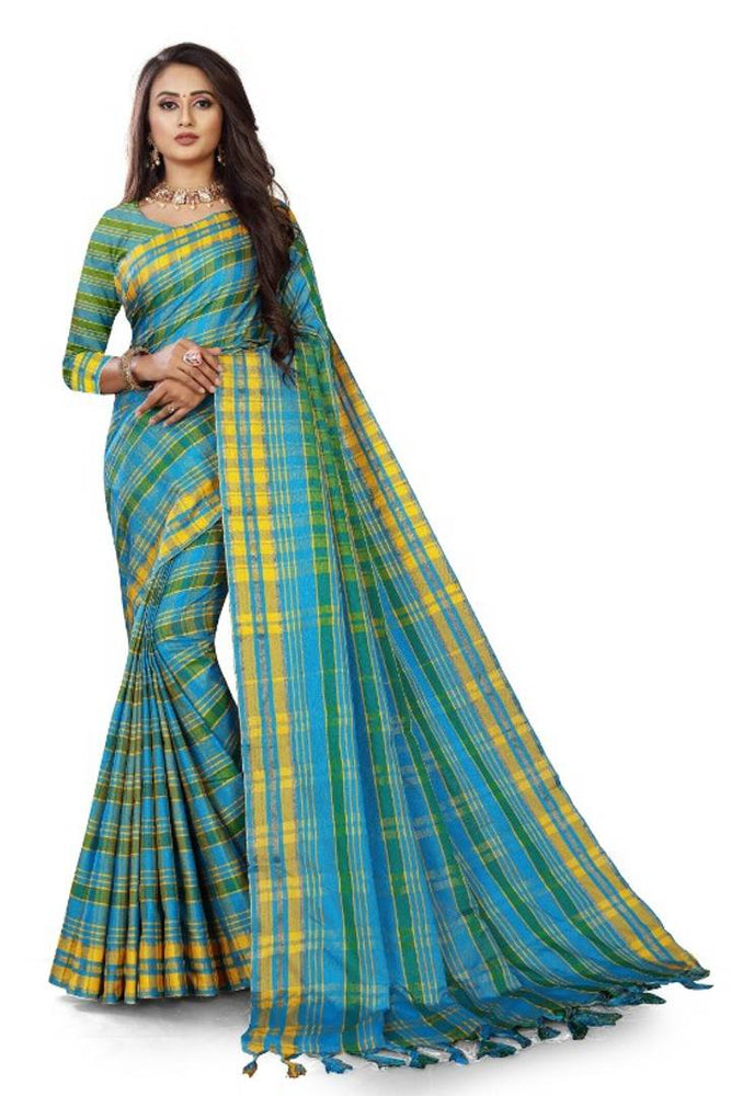 Multicoloured Khadi Checked Saree with Blouse piece