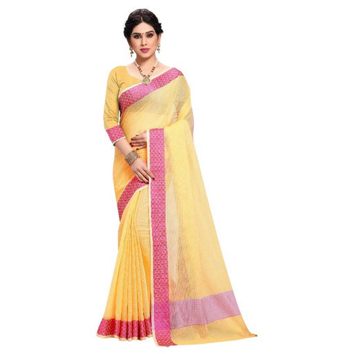 Women's Kota Doria Cotton Saree With Blouse Piece