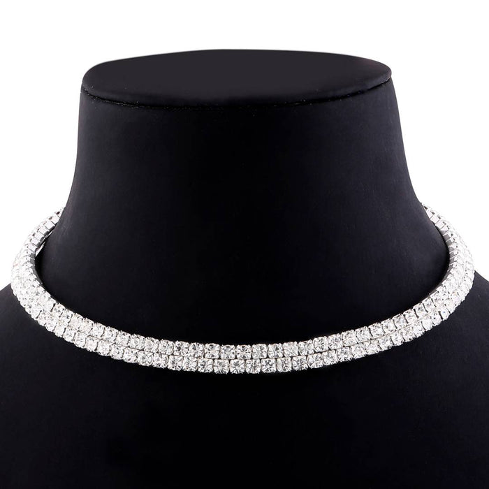 Silver Plated Double Line Diamond Studded partywear Necklace For Girls And Women jewellery
