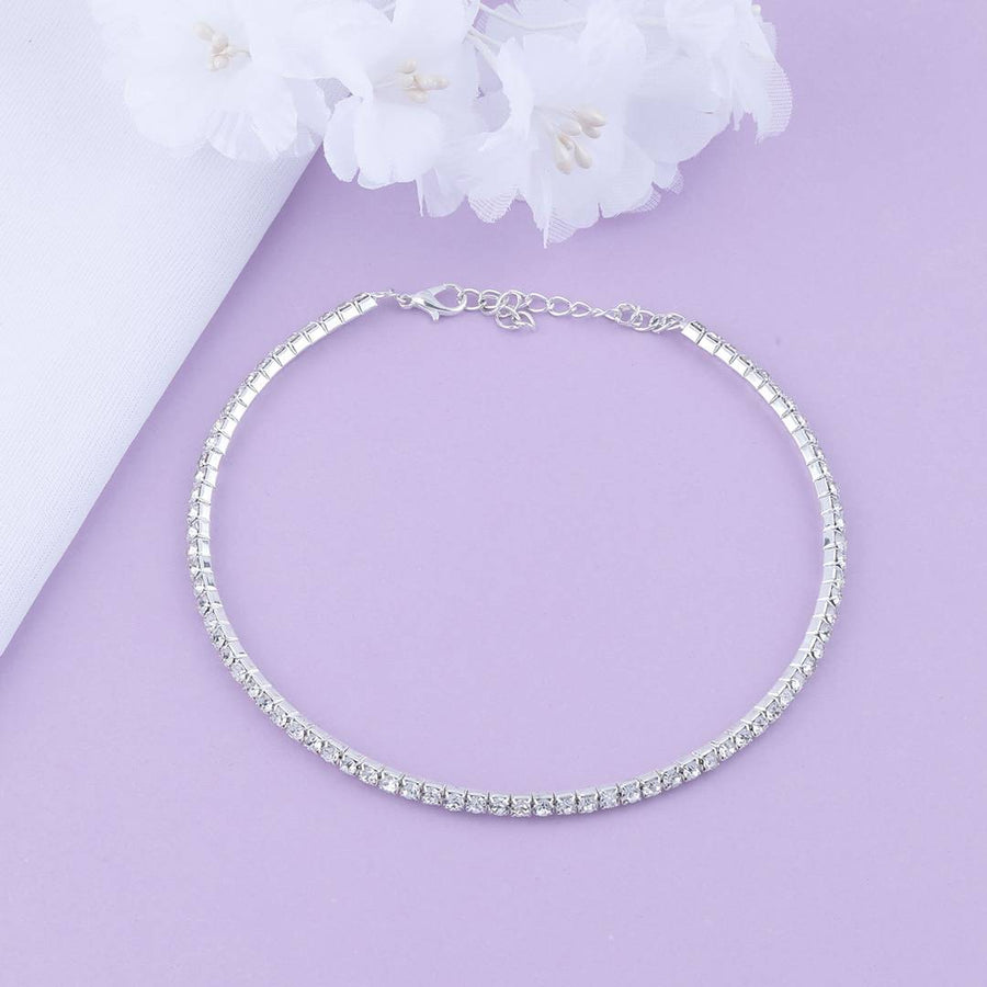 Silver Plated Single Line Diamond Studded partywear Necklace For Girls And Women jewellery