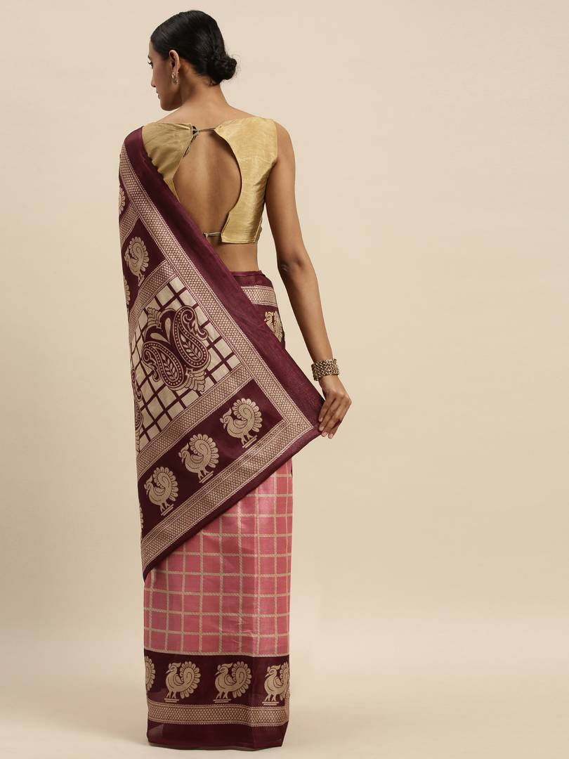 Elite Pink Self Pattern Art Silk Bhagalpuri Saree with Blouse piece For Women