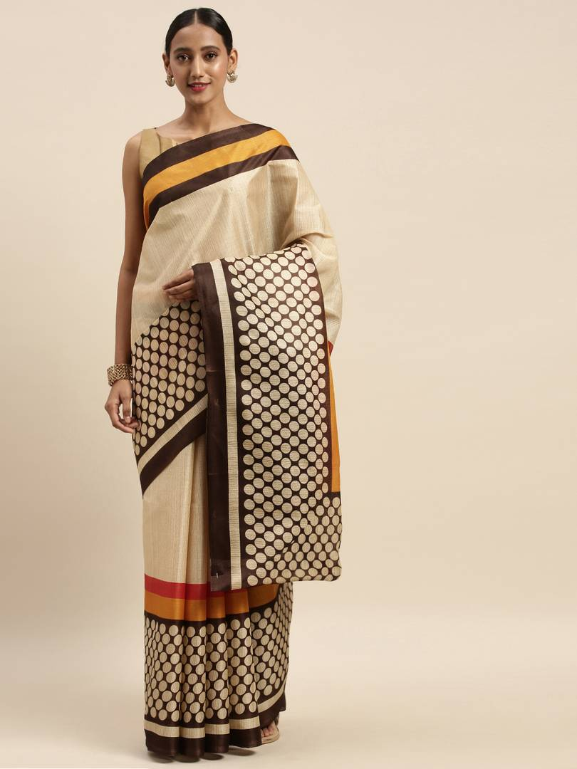 Elite Brown Self Pattern Art Silk Bhagalpuri Saree with Blouse piece For Women