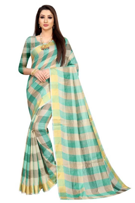 Attractive Cotton Blend Checked Saree with Blouse piece