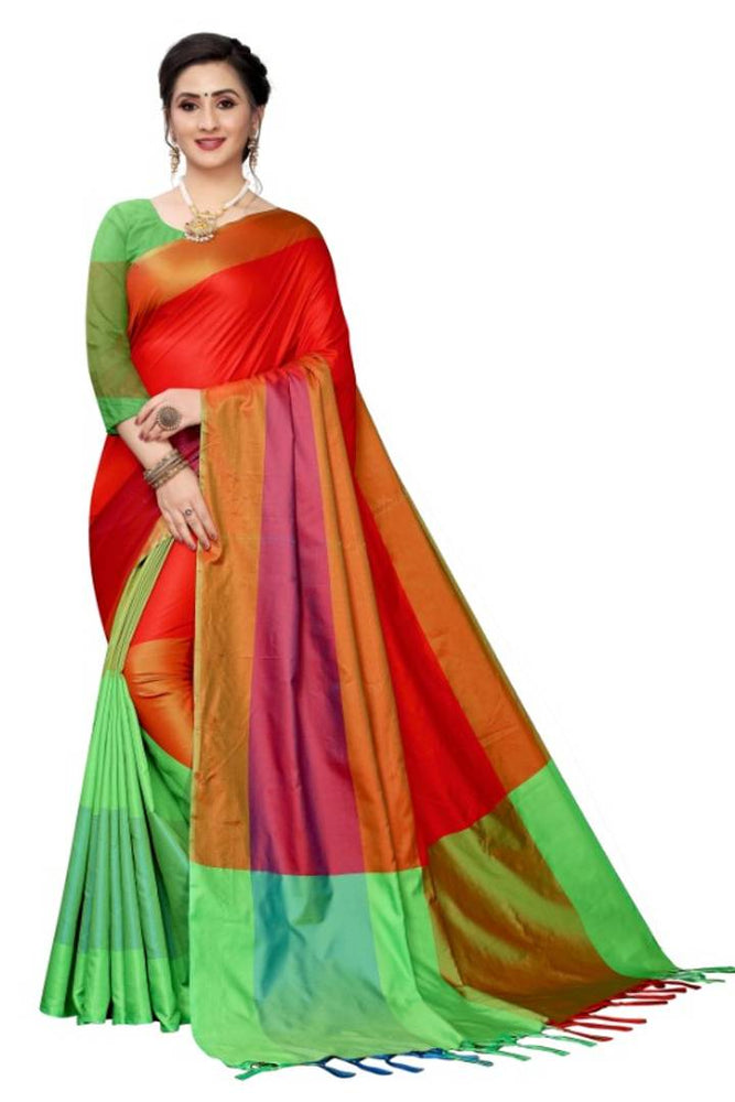 Attractive Silk Blend Striped Saree with Blouse piece