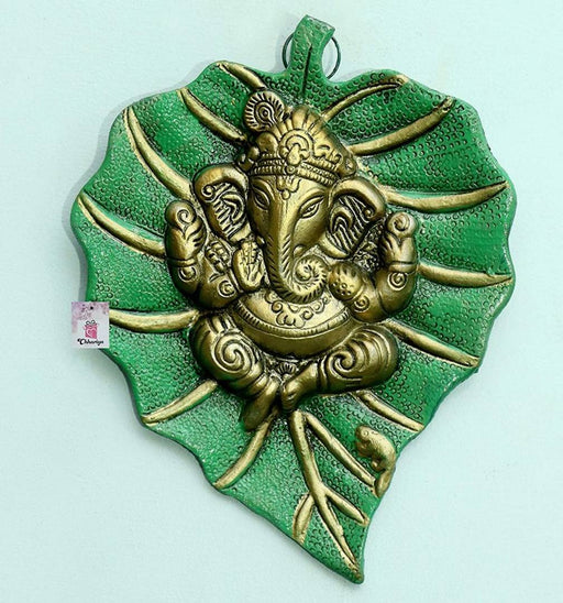 Metal Design Lord Ganesha on Leaf/Patta Ganesha Wall Hanging Showpiece for Home Decor - Green