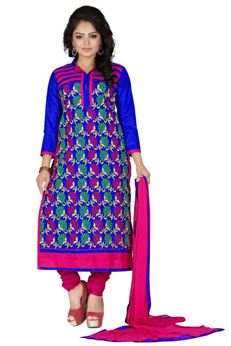 Blue Rani Cotton Embroidered Unstitched Straight Salwar Suit Dress Material