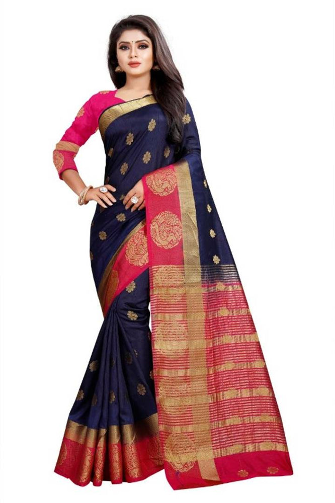 Women's Kanjeevaram Silk Saree With Blouse Piece