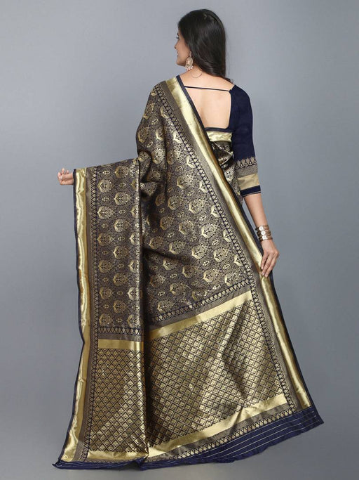 Women's Banarasi Silk Saree (Navy_Free Size)
