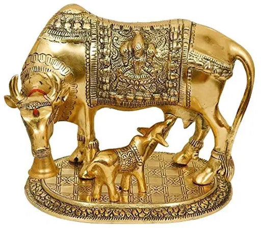 Sidhdhh Kamdhenu Cow and Calf Metal Statue | Spiritual Showpiece | Figurine | Sculpture | Idol | House Warming Gift | Home Decor | Congratulatory Blessing Gift Item