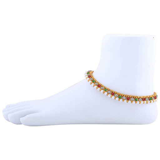 Gold Plated Designer Multi-Colour Anklet For Women