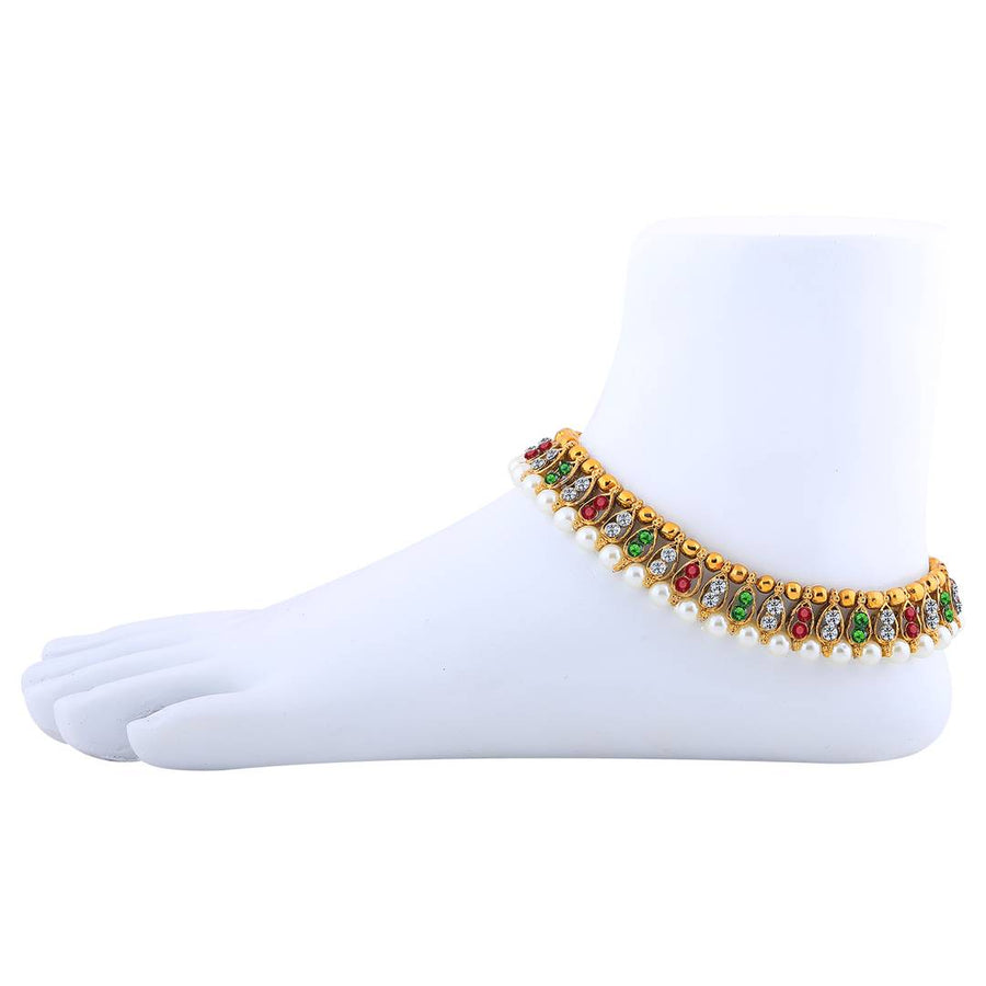 Gold Plated Multi-Colour Kundan Anklet For Women
