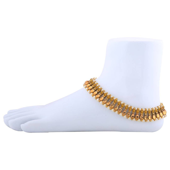 Exclusive Golden Kundan Anklet For Women