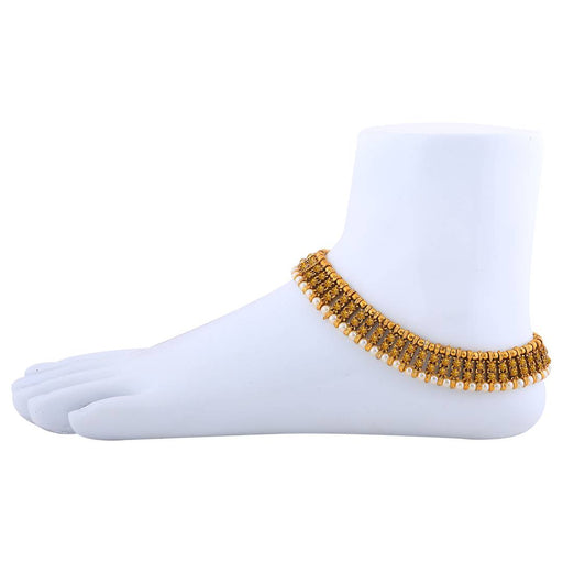 Gold Plated Designer Pearl Diamond Anklet For Women