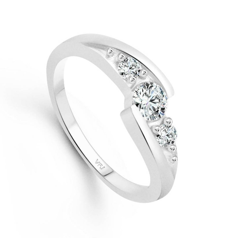 Unique Three Stone CZ Rhodium Plated Alloy Ring for Women