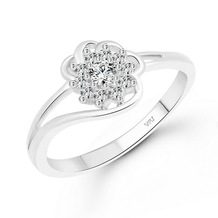 Nice Floret cz Rhodium Plated Alloy Ring for Women