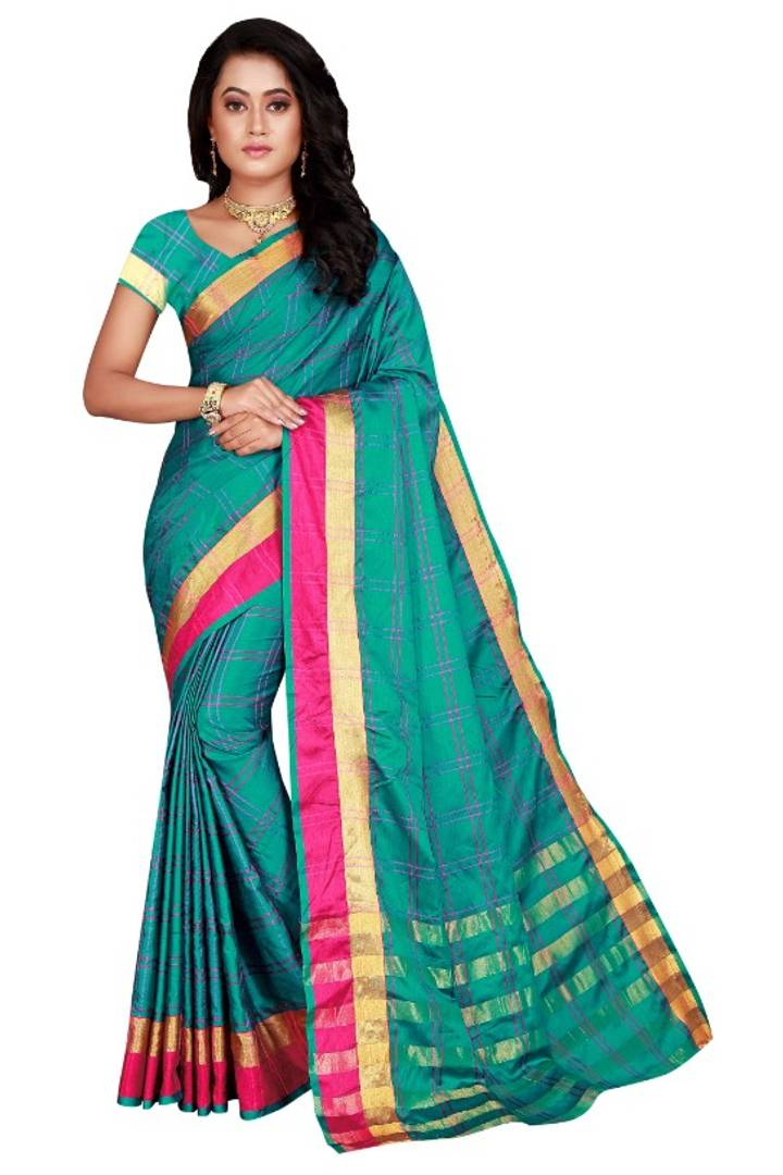 Beautiful Cotton Silk Checked Saree with Blouse piece