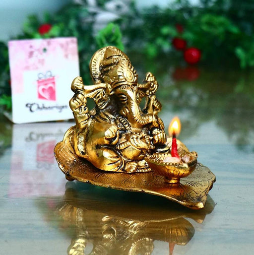 Ganesh Diya pan patta for Pooja Oil Lamp Showpiece Gold Plated Heavy Metal Home Decoration