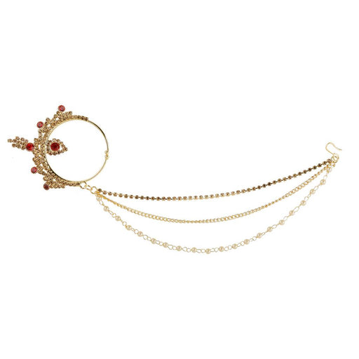 Traditional Gold Plated Red Stone Diamond Studded Designer Wedding Nose Ring