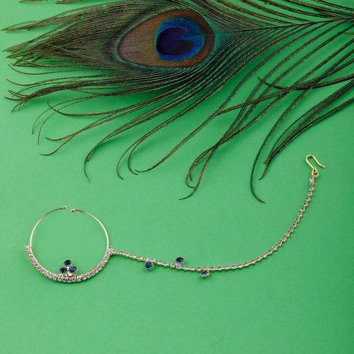 Traditional Gold Plated Elegant One Line Chain Peacock Blue Diamond Studded Designer Wedding Nose Ring