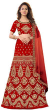 Women's Embroidered Red Velvet Lehenga Choli with Dupatta