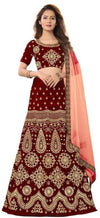 Women's Embroidered Maroon Velvet Lehenga Choli with Dupatta